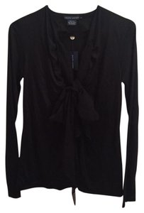 Ralph Lauren Blue Label Vneck Silk Top Black