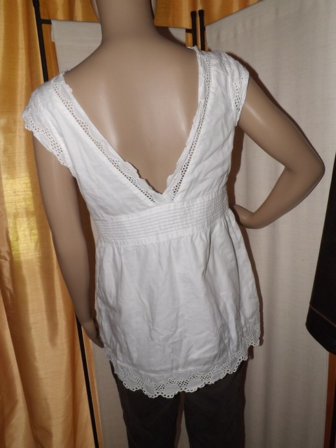 Gap Empire Waist Scalopped Eyelet Trim Side Zipper Casual Summer Top White