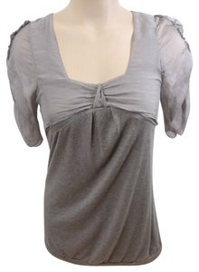 Anthropologie Classic Sugar Ruffle Chiffon Small Light Brown Sheer Sleeves Top Grey