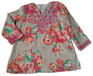 Charter Club Multi Color Floral Embroidered Linen Tunic