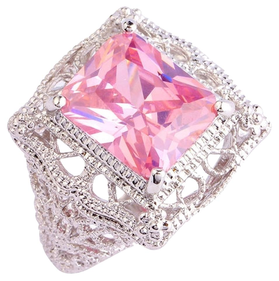 Pink New Size 7 Emerald Cut Sapphire Gemstones Silver Ring - Tradesy