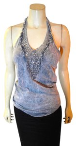 American Age Size Large P1902 gray Halter Top