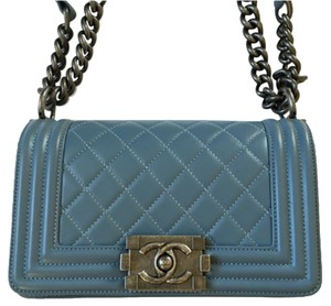 Chanel Le Boy Bleu Ruthenium Small Classic Soldout Shoulder Bag