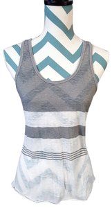 American Eagle Outfitters Striped Burnout Racer-back Sheer Top Gray White