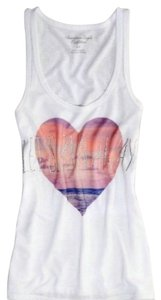 American Eagle Outfitters Studded Heart Let's Run Away Top White