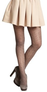 French Curve Pointelle Crochet Taupe Tights - S/M