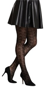French Curve Pointelle Crochet Black Tights - S/M