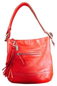 Coach Leather Tassle Zipper Shoulder Bag