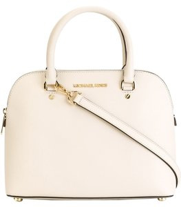 Michael Kors Saffiano Leather Leather Satchel in Cream