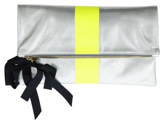 Item - Stripe Foldover Silver Yellow Leather Clutch