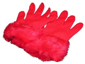 Other Red Knit Gloves with Faux Fur Cuffs Free Shipping