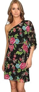 Freshline short dress Black floral on Tradesy