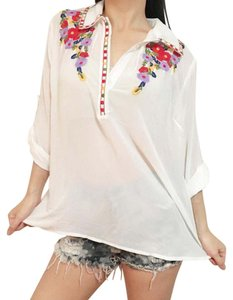 verty Boho Bohemian Embroidered Top White
