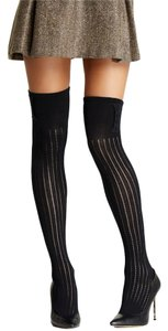 French Curve Buttoned Ribbed Knit Black Over-the-Knee Socks