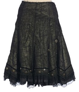 Anthropologie Deco Art Sage Button Skirt BLACK/SAGE