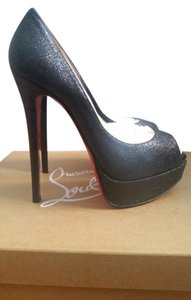 Christian Louboutin Glitter Black Wedding Red Soles Black Glitter Pumps