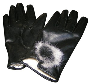 PU Leather Ladies Black Gloves With Fur Pom Pom Free Shipping