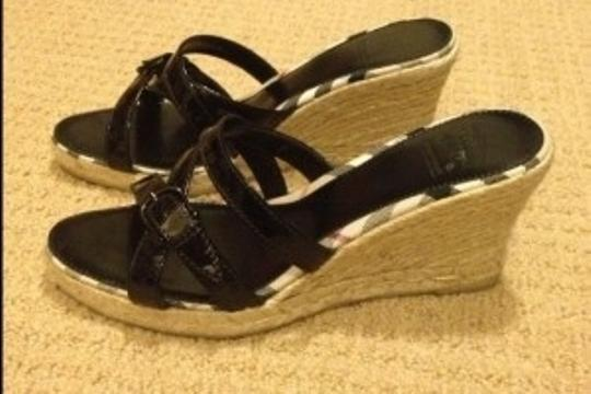 Burberry Black Patent Wedges
