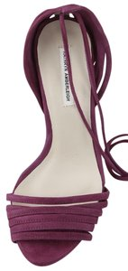 KATHRYN AMBERLEIGH Suede Strappy Berry Leather Sandal Purple Pumps