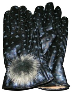 Other Cute PU Leather Patterned Ladies Gloves With Real Fur Pom Pom Free Shipping