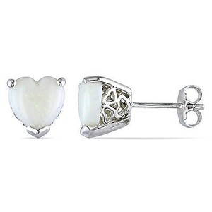 Amour Sterling Silver 25 Ct Tgw Opal Heart Love Stud Earrings