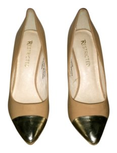 Restricted Leather Pump Casual Gold Beige Pumps