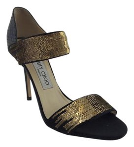 Jimmy Choo Tallow Gold Sequin Black Pumps