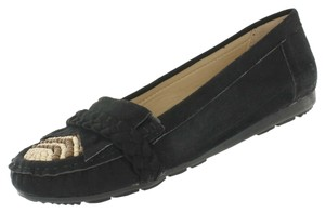 Red Circle Footwear Moccasin Fringe Beads Wood Braided Black Flats