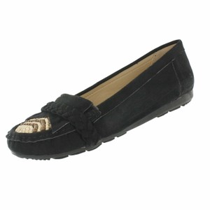 Red Circle Footwear Moccasin Fringe Beads Wood Black Flats
