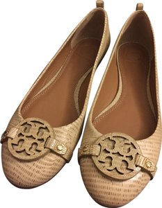 Tory Burch Brown Ballerina Pump Logo Leather Tan Flats