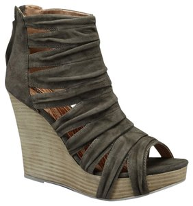 Matiko Sandal Leather Platform Suede Grey Wedges