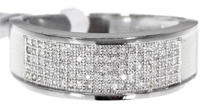 Jewelry Unlimited 10k White Gold Mens Round Diamond Pave Wedding Band Ring 0.50ct 8mm
