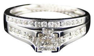 Other Women's White Gold Princess Cut Real Diamond Bridal Engagement Ring