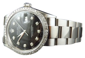 Rolex Mens Rolex Mm Datejust Oyster Stainless Steel Black Diamond Watch 2.15 Ct