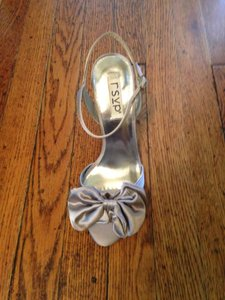 RSVP Wedge Outdoor Wedding Silver Satin Bow Wedding Shoes