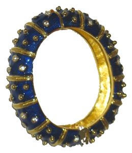 Camrose & Kross Jacqueline Kennedy Collection: Enamel Bangle Bracelet Gold & Crystal