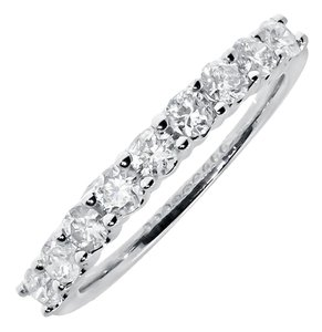 Jewelry Unlimited 14k White Gold Ladies Diamond Shared Prong Wedding Anniversary Band Ring 0.73 Ct