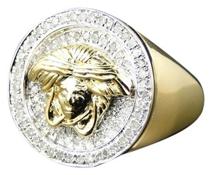 Jewelry Unlimited Mens Yellow Gold Finish Round Cut Pave Set Medusa Head Diamond Pinky Ring .67 Ct