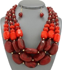 Other Apfel Inspired Red Spice Multistrand Chunky Cabochon Statement Necklace and Earring Set