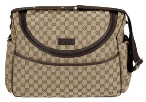 Gucci Guccissimma Messenger 123326 Ftasr 8588 Beige-Ebony-Tan GG Monogram Diaper Bag