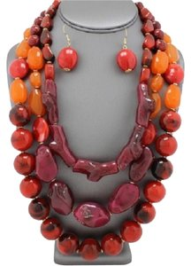 Other Apfel Inspired Red Spice Multistrand Marbleized Chunky Statement Necklace and Earring Set