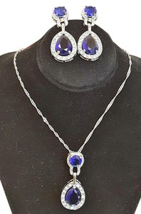 Other Gorgeous Austrian Crystals Cobalt Blue Necklace Set