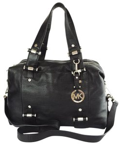 MICHAEL Michael Kors Gibson Leather Convertible Rare Industrial Chrome Satchel in black