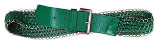 Green leather chain link belt