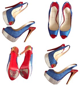 Christian Louboutin Red/white/blue Pumps