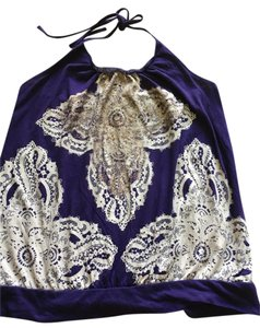 Express Geometric Gold Foil Purple Halter Top