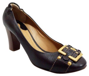 Chloé Leather Gold Buckle Wooden Heel Brown Pumps