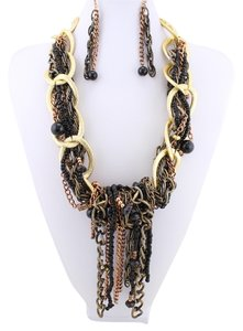 Boho Chic Tribal Beaded Links Tassel Multicolor Necklace and Earring Set