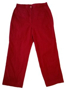 Talbots Crop Pants Cotton Stretch Capris Red