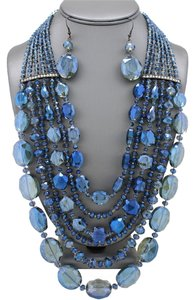 Blue Multilayer Glass Beads Crystal Hematite Plated Necklace and Earrings